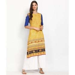 Anmi Printed Women Straight Kurta(Yellow)