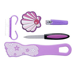 Amazon Brand - Solimo Manicure and Pedicure Kit with Nail Clipper, Foot Grinder, Brush and Two Nail Files, Purple, Pack of 5