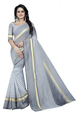 Regolith Designer Sarees Women's Banarasi Cotton Silk Saree With Blouse Piece (Grey)