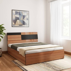Bharat Lifestyle Rome Exotic teak Engineered Wood Queen Box Bed(Finish Color - Exotic teak, Delivery Condition - Knock Down)