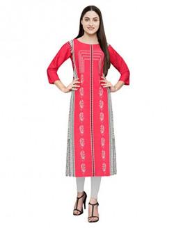 Pop Mantra Women's crepe straight Kurta (530050_ Pink_ Small)