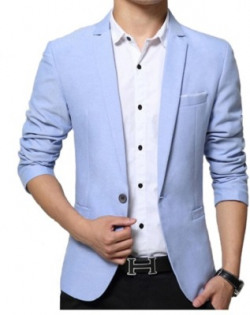 One Click Solid Single Breasted Party, Formal, Casual Men Blazer(Light Blue)