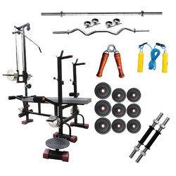 Bodykare Exercise & Gym Equipment Pack of 20 in 1 BENCH+ 190 kg weight+ weight plates ( Rubber)+3 FT CURL ROD+5 FT PLAIN ROD +1 PAIR DUMBBELLS ROD With Skipping rope, hand grip & Wrist band Skipping rope, hand grip & Wrist band