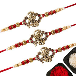NUMINUS Set Of 3 Stylish Rakhi For Brother With Roli Chawal And Greeting | Multiple Varieties Of Rakhi For Bhai | Rakhi Combo With Beautiful Card Packing | C5