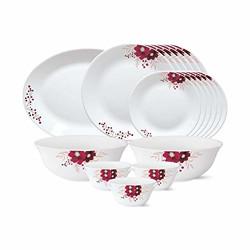 Larah by Borosil - Tiara Series, Paradise, 21 Pcs, Opalware Dinner Set, White