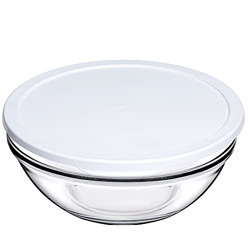 Pasabahce Chef's Glass Mixing Bowl with Lid 1700 ml 1 Pc White