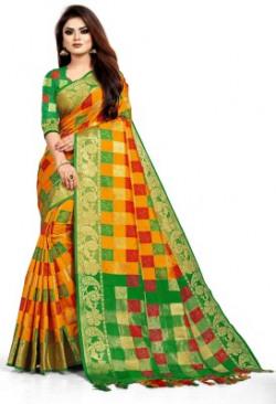 Toriox Woven, Floral Print, Embellished Fashion Poly Silk, Lycra Blend Saree(Orange)