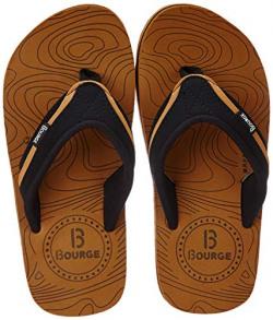 Bourge Men's Canton-Z1 Tan and Black Flip-Flops-2 (Canton-61-02)